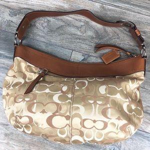 COACH soho pleated signature brown canvas hobo bag